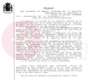 Cl usula suelo de 39 no consumidor 39 nueva sentencia for Sentencia devolucion clausula suelo